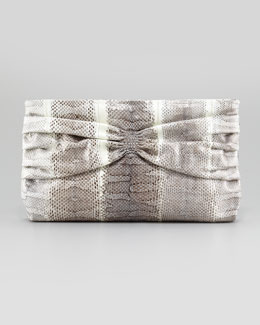 Miu Miu Snakeskin Ruched Flat Clutch Bag