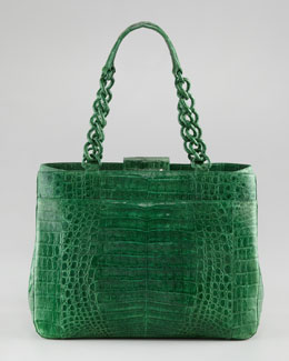 Nancy Gonzalez Crocodile Chain-Strap Tote Bag, Shiny Green