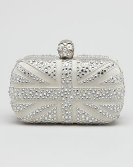 Alexander McQueen Crystal Britannia Box Clutch Bag, Gray