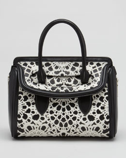 Alexander McQueen Small Heroine Laser-Cut Calf Hair Satchel Bag