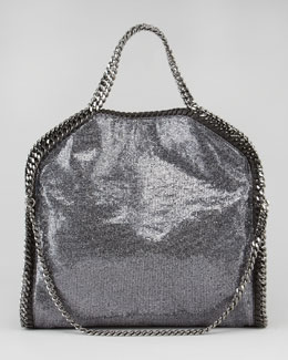 Stella McCartney Fold-Over Falabella Tote Bag, Pewter