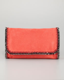 Stella McCartney Falabella Faux-Leather Fold-Over Clutch Bag, Amaryllis