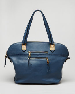 Chloe Angie Large Shoulder Bag, Fjord Blue