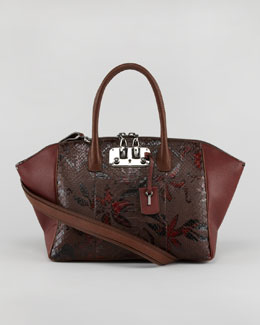 VBH Brera Python/Leather Satchel Bag