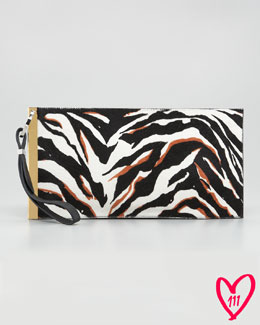 Balenciaga BG 111th Anniversary Zebra-Print Calf Hair Deco Clutch Bag