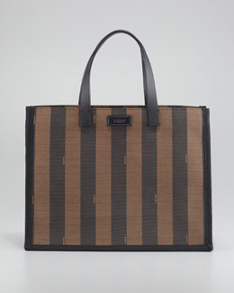 Fendi Pequin Small Shopping Tote Bag, Black/Tobacco