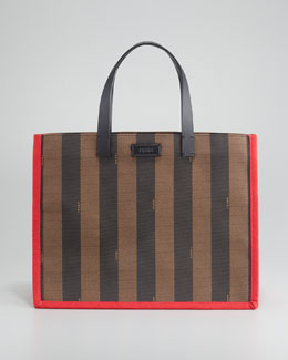 Fendi Pequin Small Shopping Tote Bag, Red/Tobacco