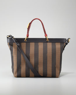 Fendi Pequin Striped Shoulder Tote Bag, Red