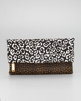 Fendi Chameleon Calf Hair Fold-Over Clutch Bag