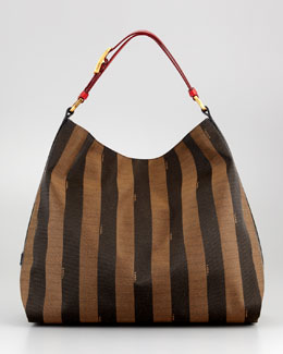 Fendi Pequin Hobo Bag, Red/Tobacco/Black