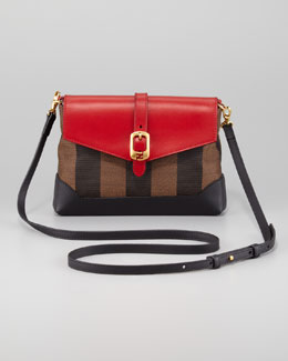 Fendi Pequin Pouchette Bag, Tobacco/Red/Black