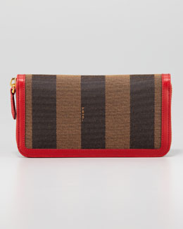 Fendi Pequin Zip-Around Striped Canvas Wallet, Tobacco/Red