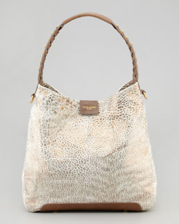 Olivia Harris Gahan Metallic Hobo Bag, White/Spice