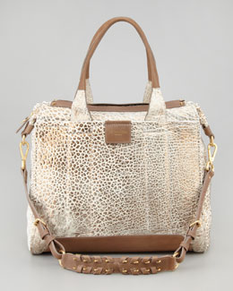 Olivia Harris Iggy Metallic Satchel Bag, White/Spice