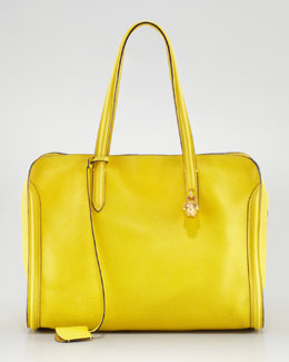 Alexander McQueen New Skull Padlock Zip-Around Tote Bag, Yellow