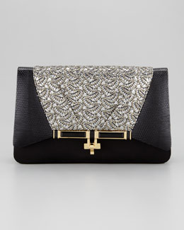 Kara Ross Priscilla Sequined Clutch Bag, Black/Gold