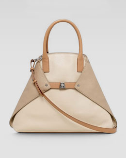 Akris Ai Tricolor Cervo Medium Tote Bag, Stucco/Cordovan