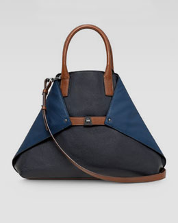 Akris Ai Tricolor Cervo Medium Leather Messenger Bag, Denim/Pacific