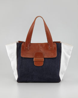 Marc Jacobs Denim-Paneled Tote Bag