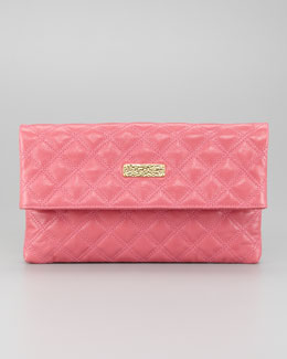 Marc Jacobs Eugenia Large Quilted Lambskin Clutch Bag, Bubblegum