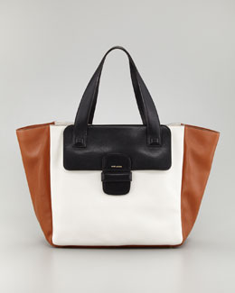 Marc Jacobs Lambskin Paneled Tote Bag, White/Black/Cognac