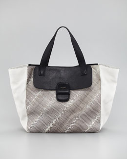 Marc Jacobs Snakeskin-Paneled Tote Bag