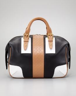 Belstaff Ashley Tread Colorblock Satchel Bag, Black/Tan/White