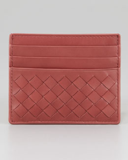 Bottega Veneta Woven Card Case, Coral