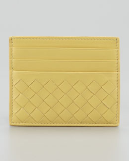 Bottega Veneta Woven Card Case, Yellow