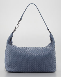 Bottega Veneta Medium Woven Leather Shoulder Bag, Blue