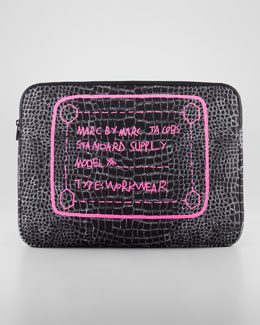 MARC by Marc Jacobs Crocodile-Print Neoprene Computer Case, 15""