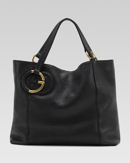 Gucci Twill Leather Medium Shoulder Bag, Black