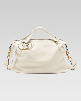Gucci Twill Leather Large Shoulder Bag, White