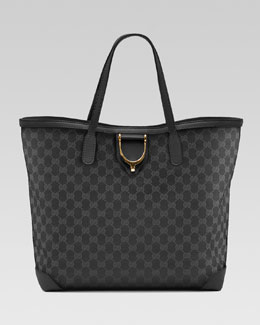 Gucci Soft Stirrup Original GG Canvas Tote, Black