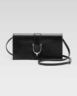Gucci Soft Stirrup Small Leather Shoulder Flap Bag, Black