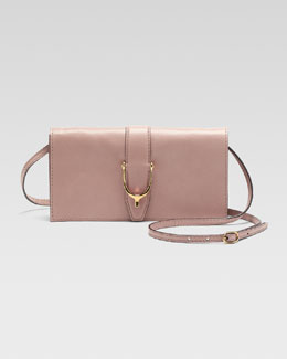 Gucci Soft Stirrup Small Leather Shoulder Flap Bag, Dark Cipria