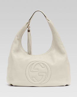 Gucci Soho Leather Hobo, White