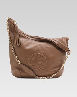 Gucci Soho Leather Chain-Strap Shoulder Bag, Brown
