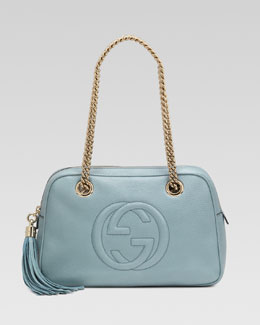 Gucci Soho Leather Double-Chain-Strap Shoulder Bag, Splash