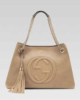 Gucci Soho Leather Medium Chain-Strap Tote, Cream