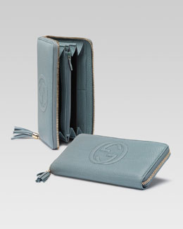 Gucci Soho Leather Zip-Around Wallet, Splash