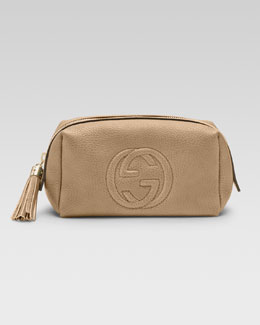 Gucci Soho Medium Leather Cosmetic Case, Cream