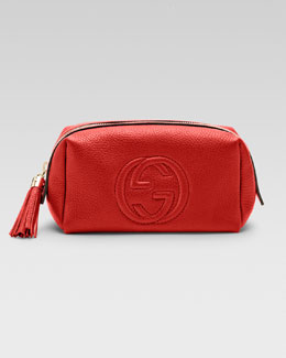 Gucci Soho Medium Leather Cosmetic Case, Red