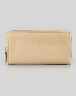 Gucci Glossy Zip Around Wallet, Cream