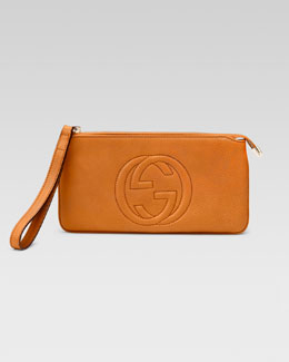 Gucci Soho Leather Wrist Wallet, Sunflower