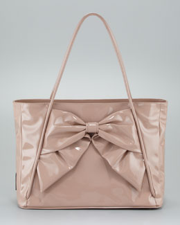 Valentino Betty Lacca Bow Tote Bag, Soft Noisette