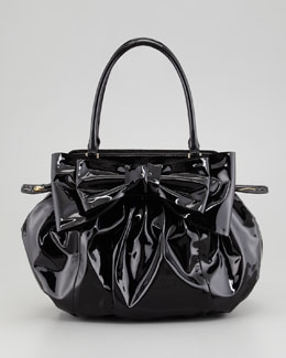 Valentino Double-Handle Lacca Hobo Bag, Nero