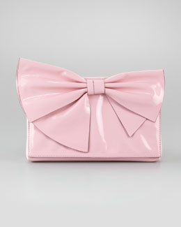 Valentino Lacca Bow Clutch Bag, Pop Gardenia
