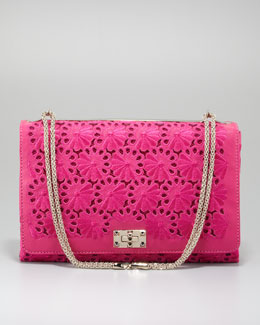 Valentino Floral Lace Cutout Shoulder Bag, Pop Fuchsia