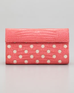 Nancy Gonzalez Crocodile Dot Clutch Bag, Pink